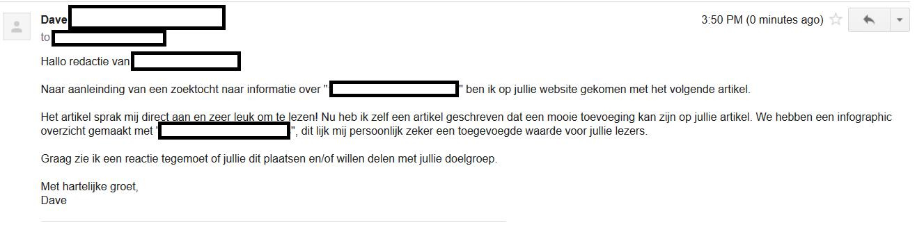 Skyscrapermethode outreachmail voorbeeld