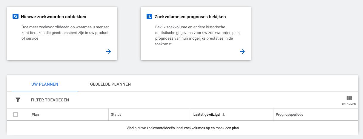 Keywordplanner Screenshot