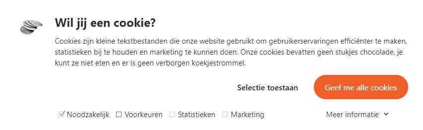 screenshot van de cookiemelding van DoubleSmart
