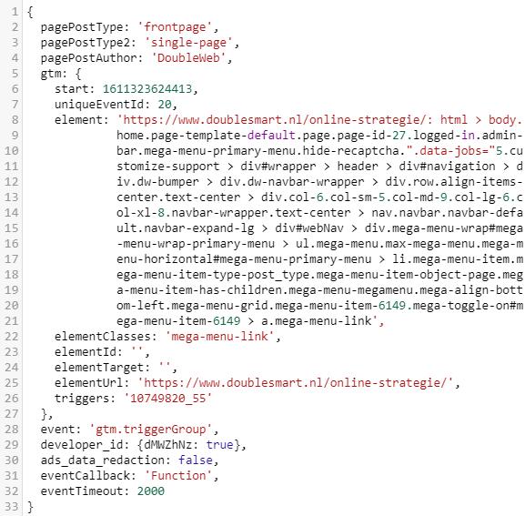 screenshot van de DataLayer