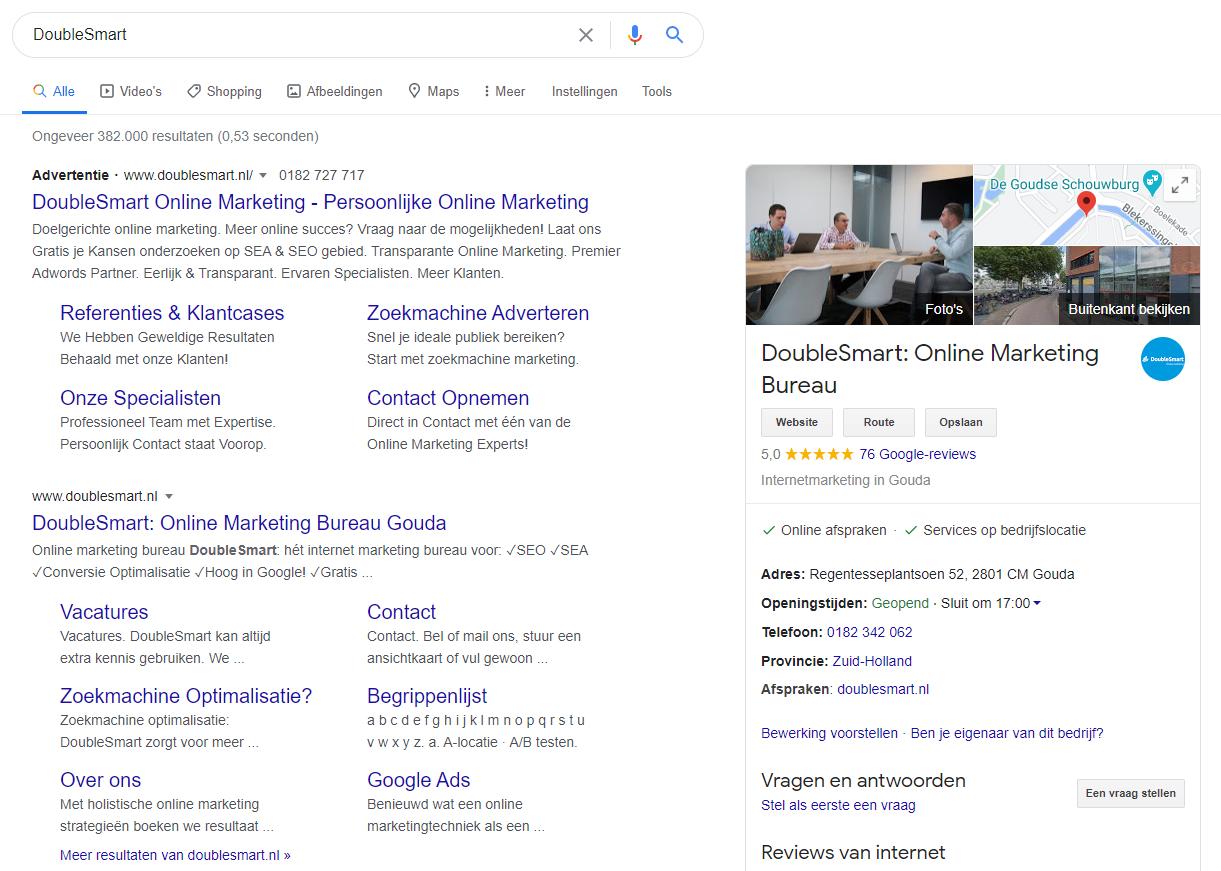 google mijn bedrijf met branded zoekterm