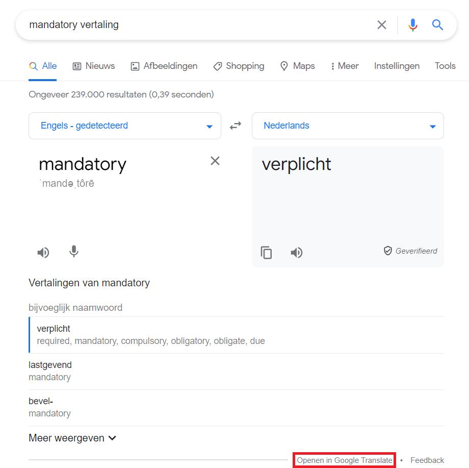 SERP met vertaalfunctie