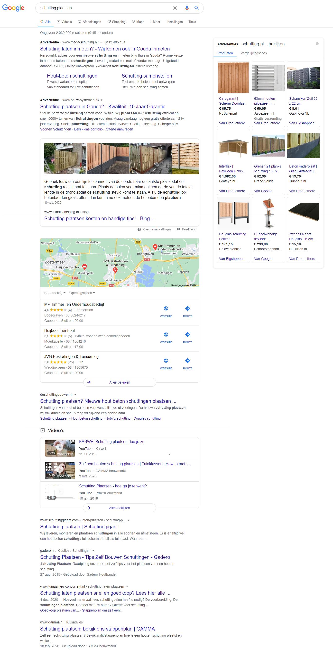 screenshot van SERP voor zoekterm [schutting plaatsen]