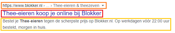 screenshot van een organisch zoekresultaat