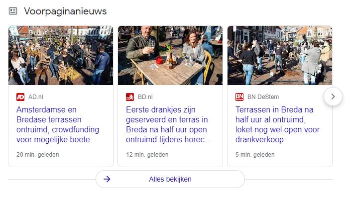 screenshot van News carousel
