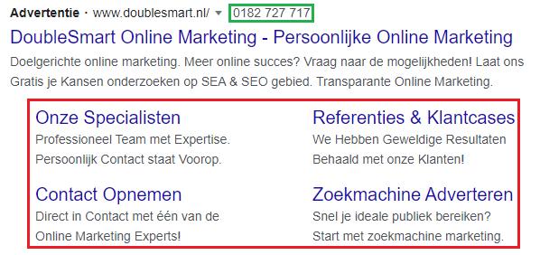 screenshot van advertentie met sitelinks